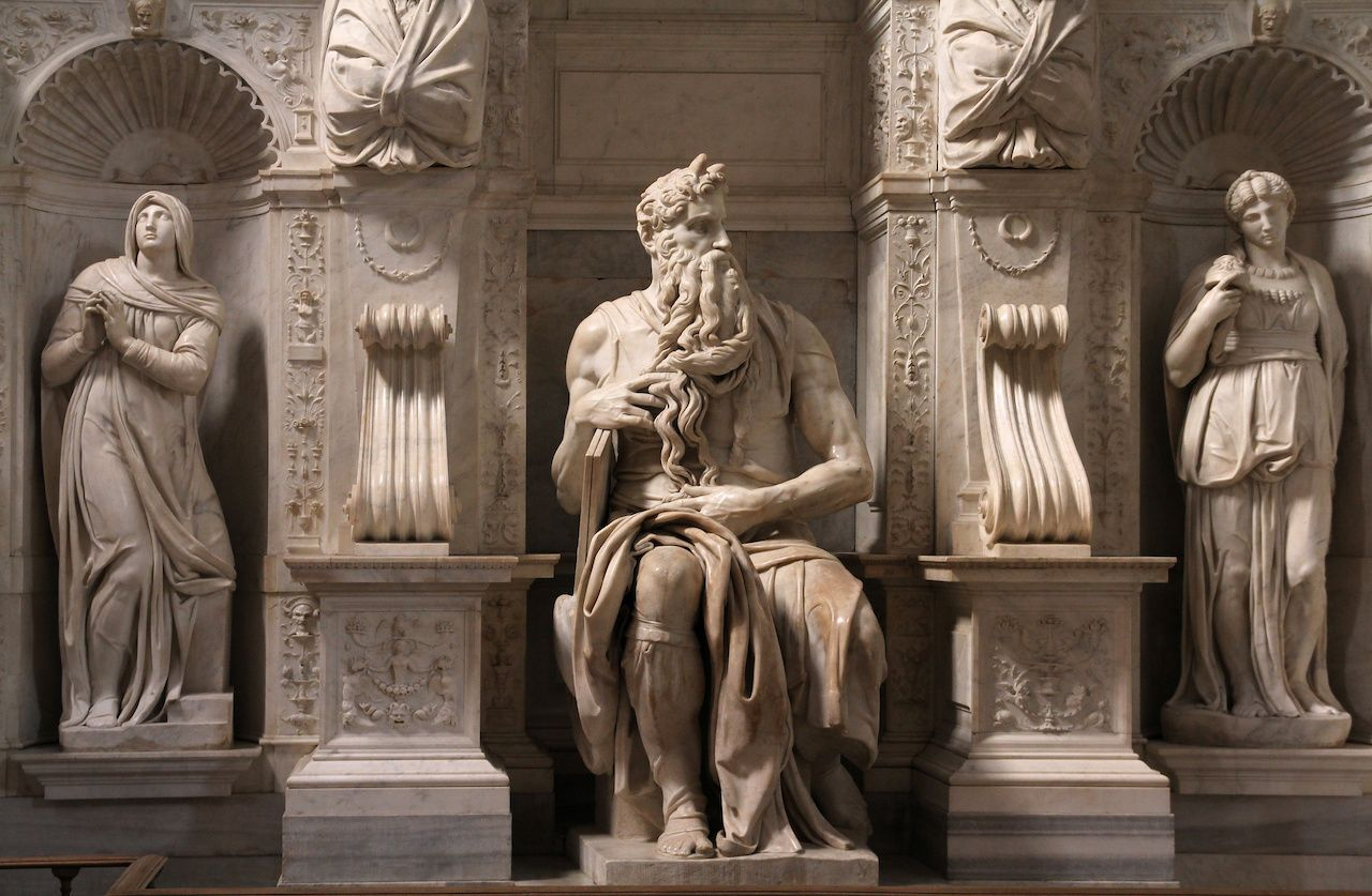 Moses by Michaelangelo in the church of San Pietro in Vincoli, Rome, Italy