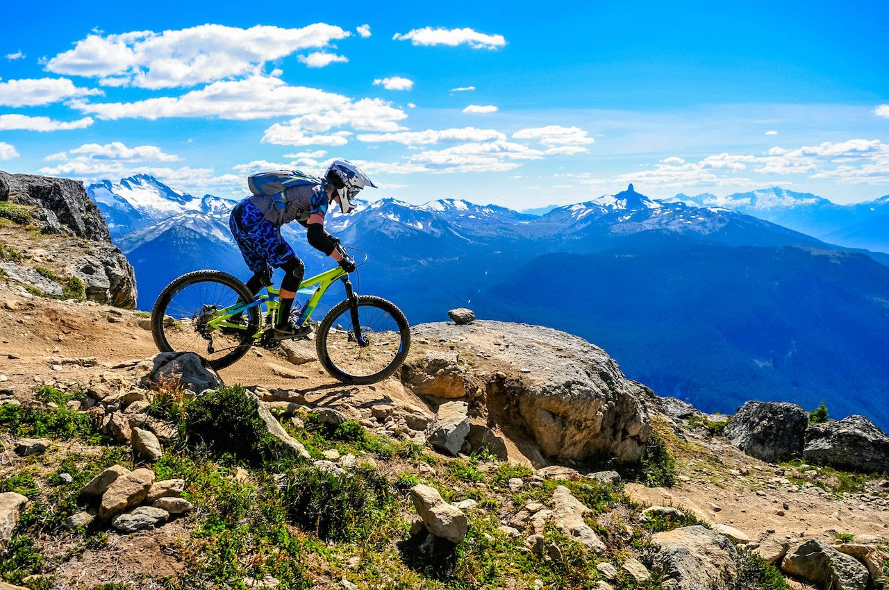 Mountain biker on a ridge