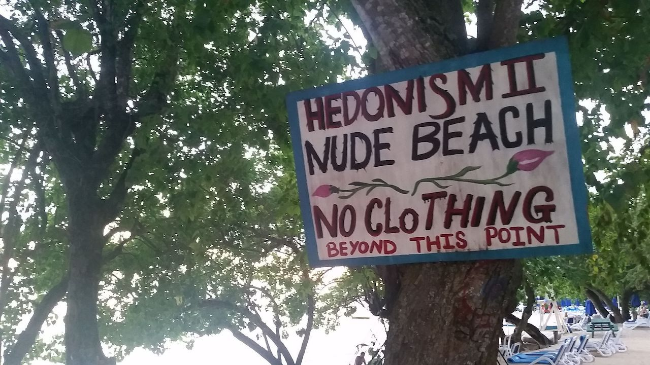 Nude beach sign