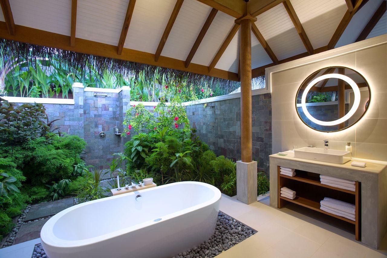 Outdoor bathtub in a luxury hotel villa
