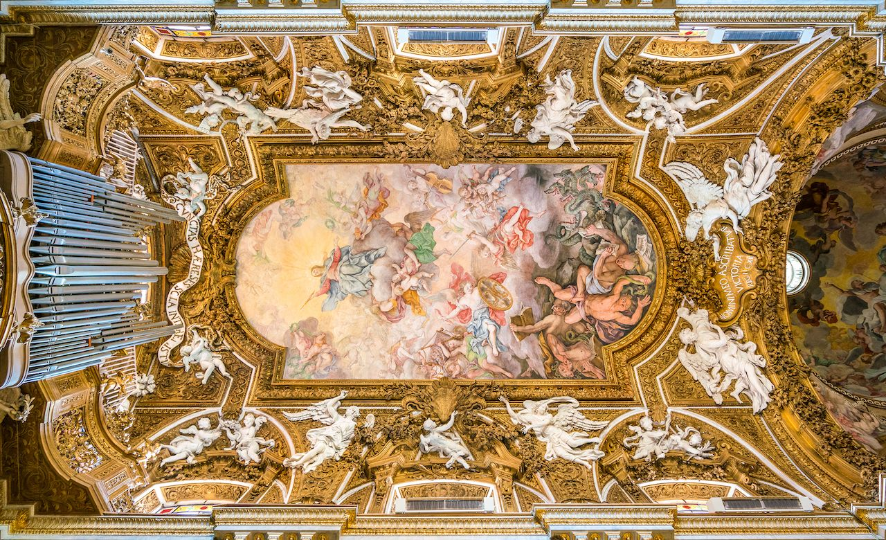 Painted ceiling in the Church of Santa Maria della Vittoria in Rome, Italy
