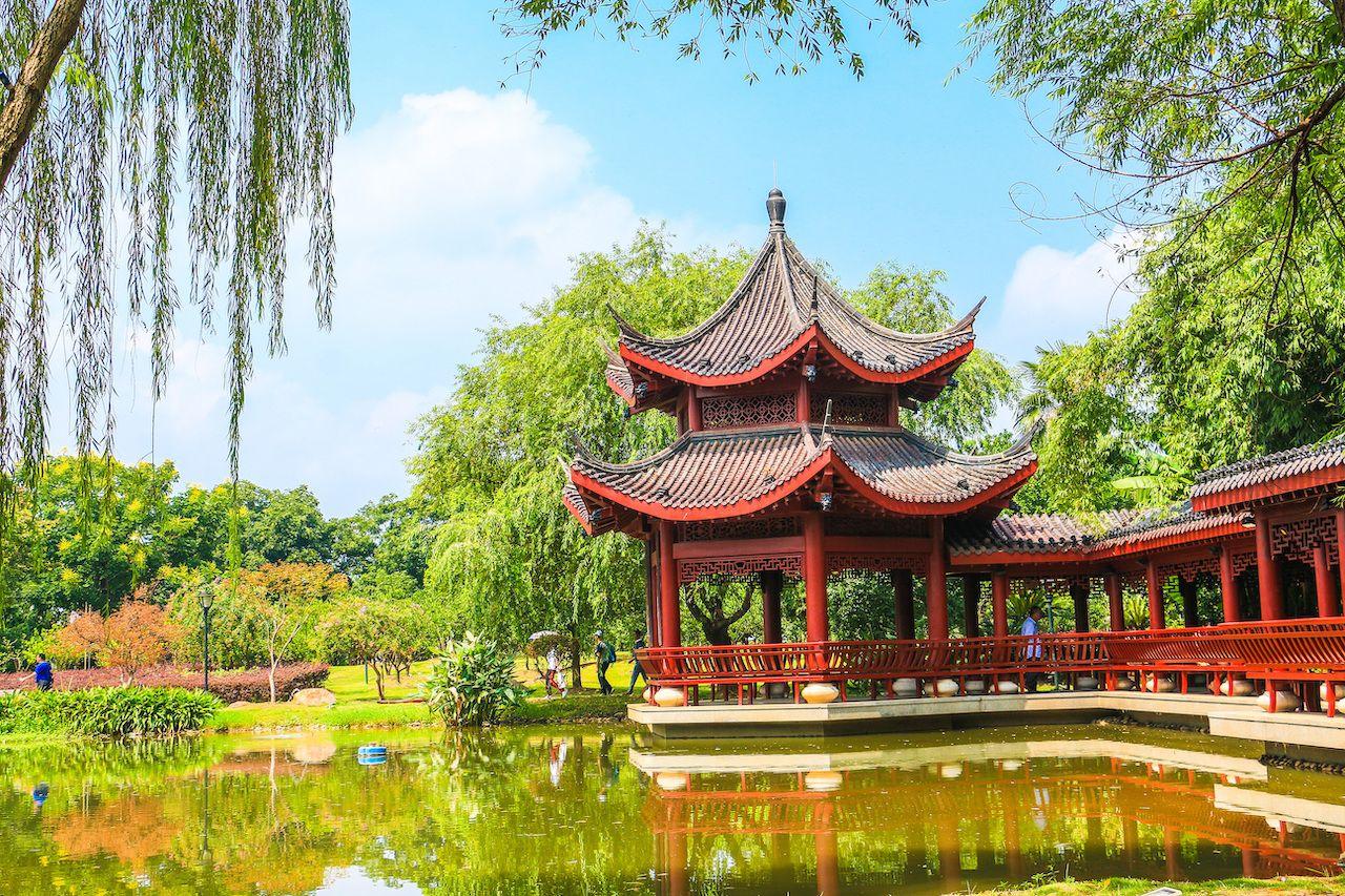 Pavilion at Juzizhou Park, Changsha, Hunan, China