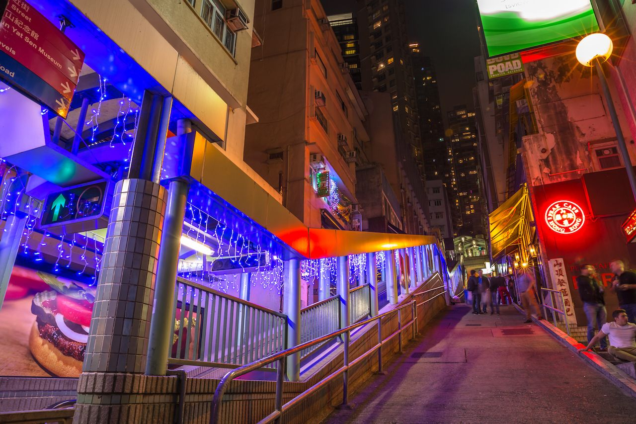 Peak bar and Central-Mid-Levels escalator in Shelley and Staunton St, Soho District, Central Hong Kong