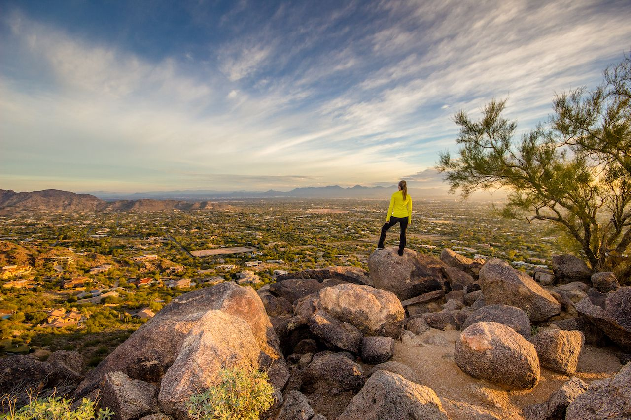 Person watching sunrise in Phoenix, Arizona