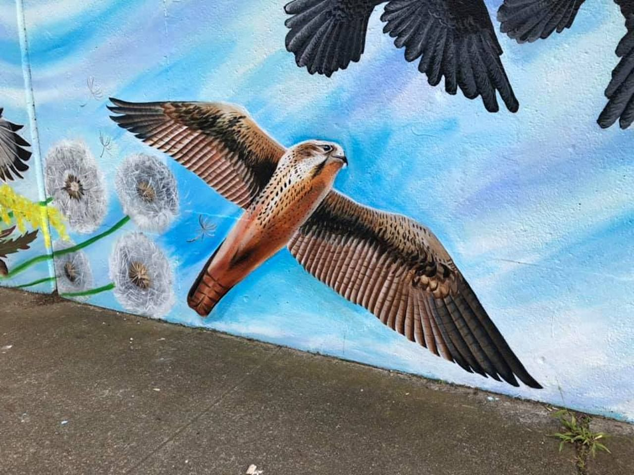 Mural of birds and flowers in SF