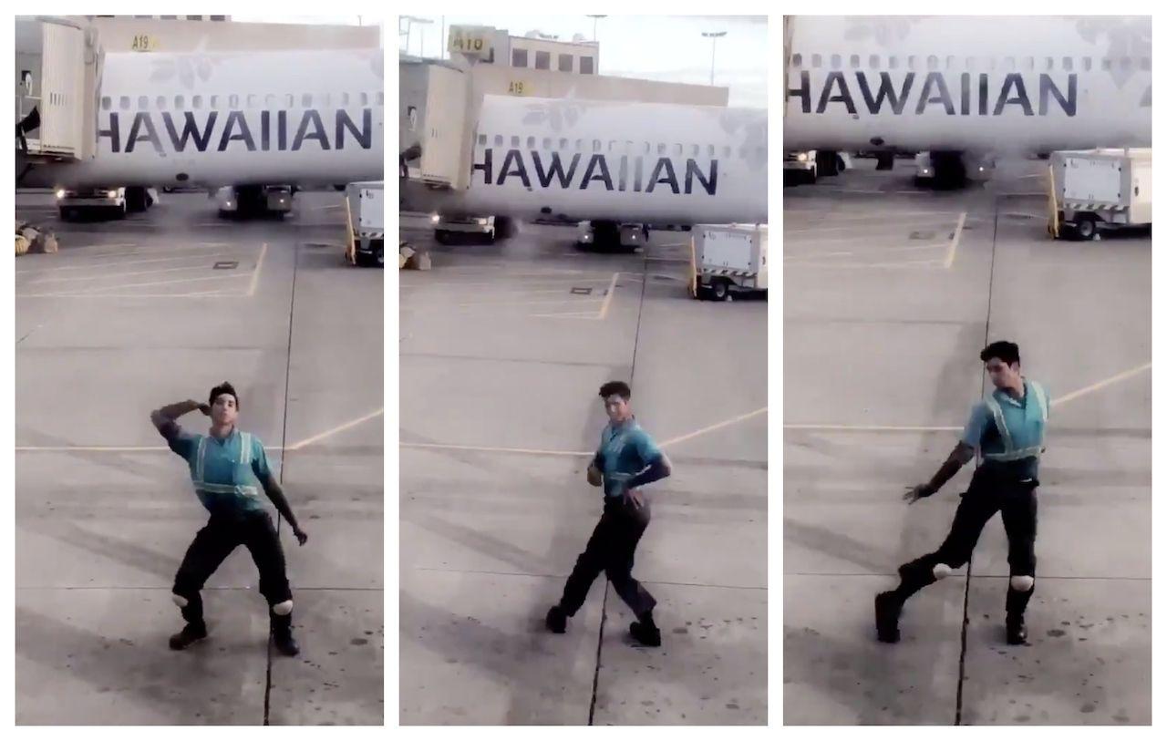 Baggage handler dance routine