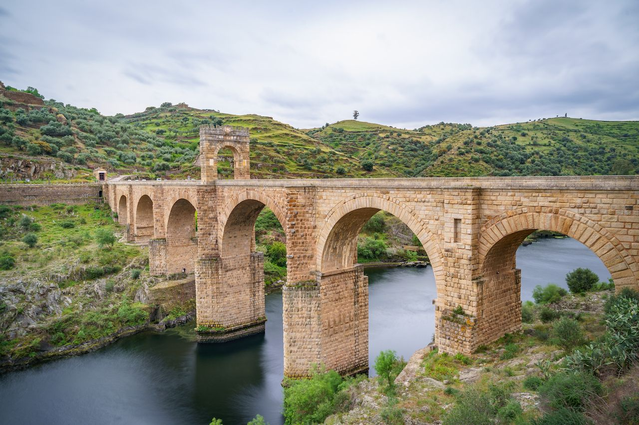 Roman bridge at Alcantara, in Extremadura, Spain