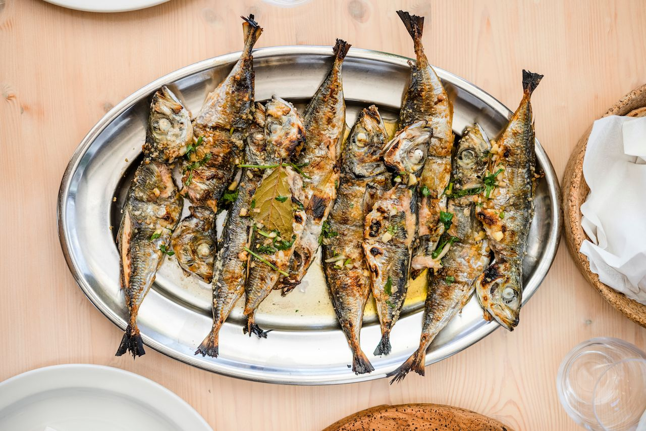 Silver tray full of delicious fish mackerel known as Carapau in Portugal