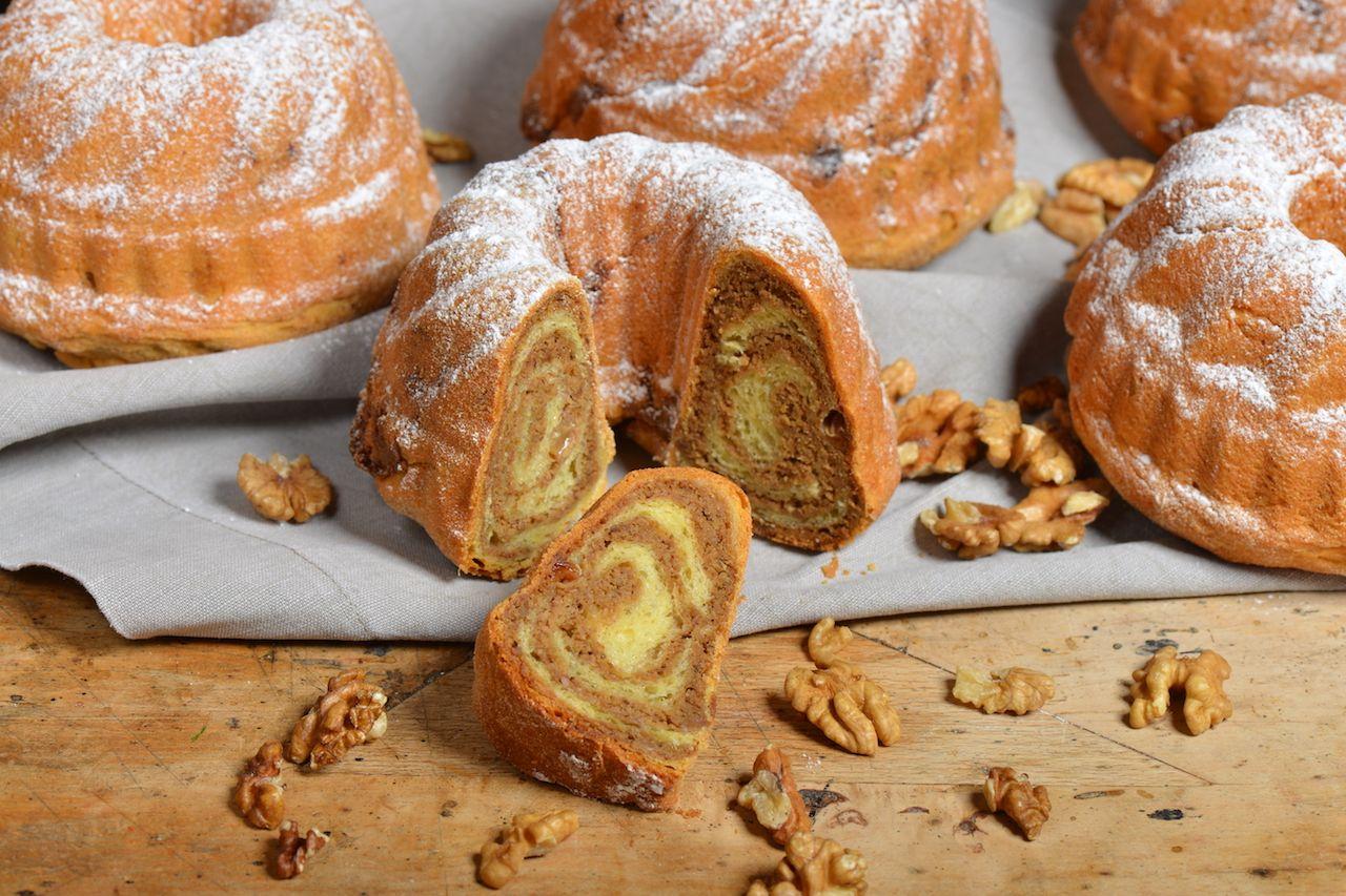 Slovenian potica, walnut rolls dusted with powdered sugar