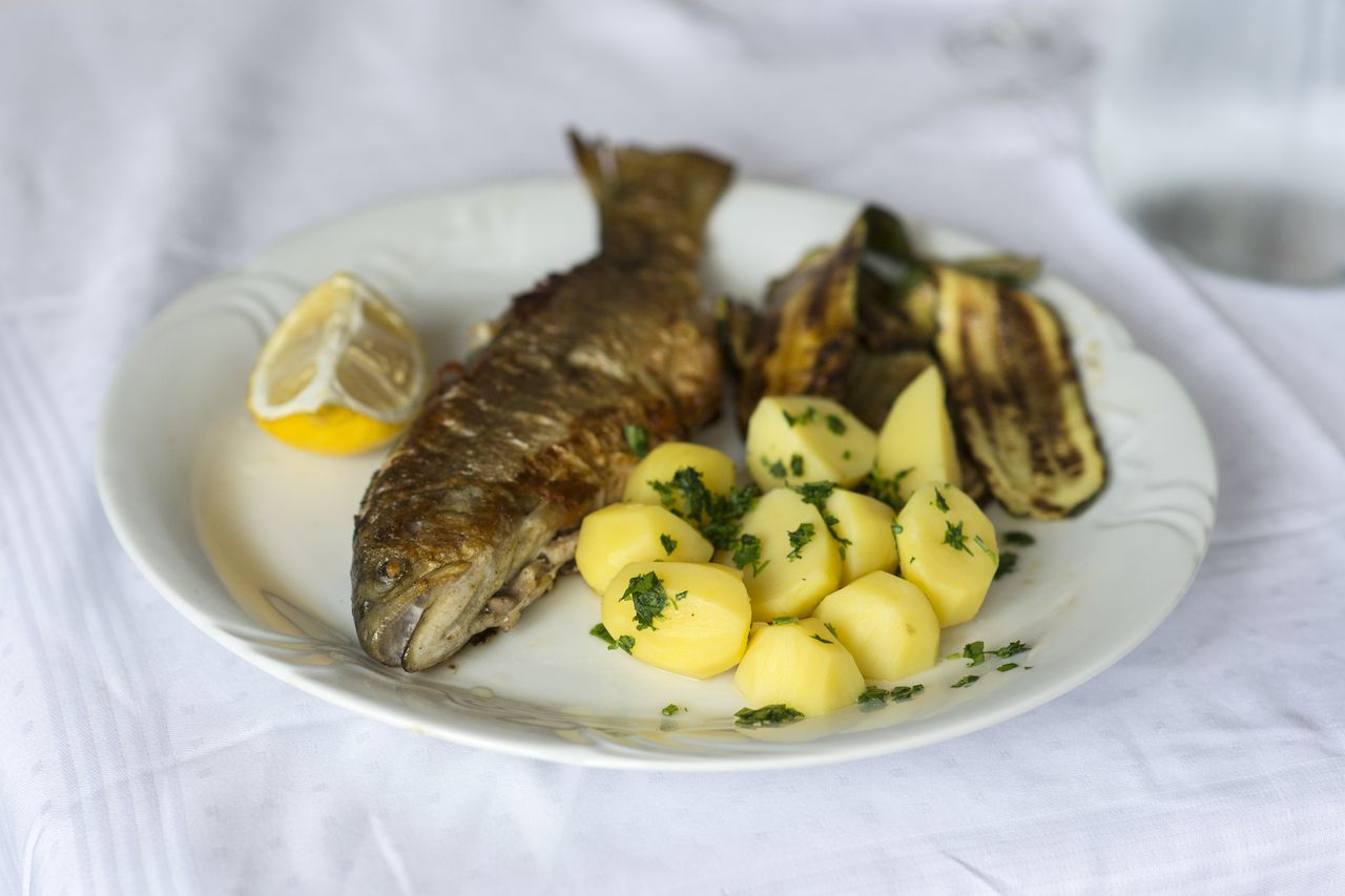Soca trout is a typical meal in western Slovenia