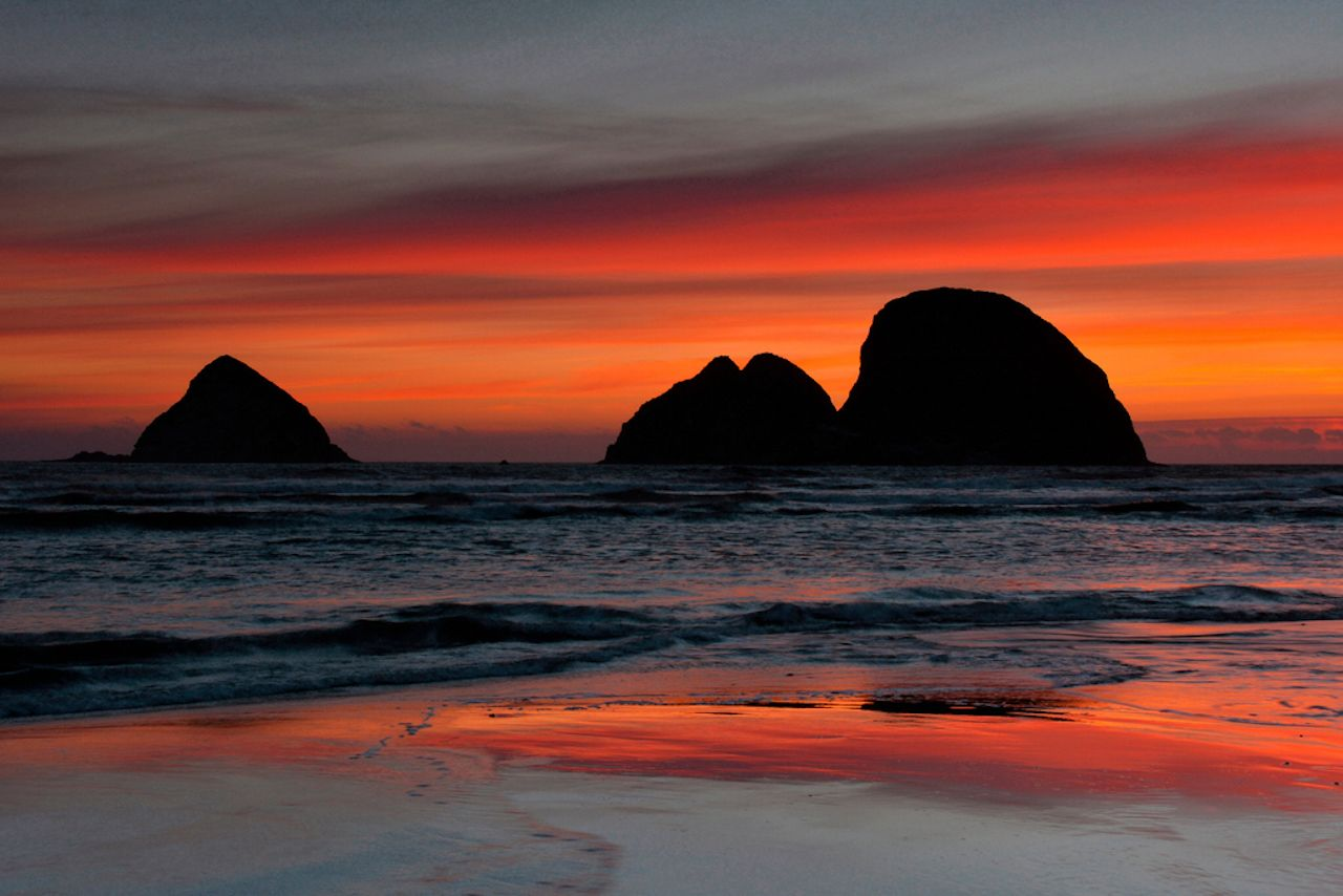 Sunset, Three Arches, Oceanside, Oregon