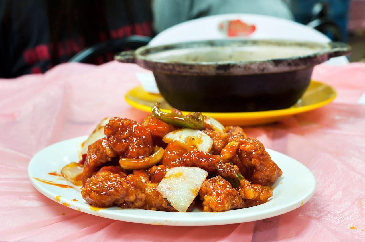 Sweet and sour chicken at a typical Hong Kong dai pai dong