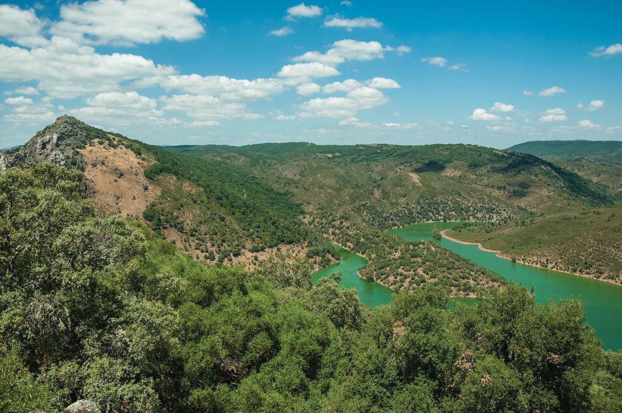 Tagus River running through a valley in Monfrague National Park
