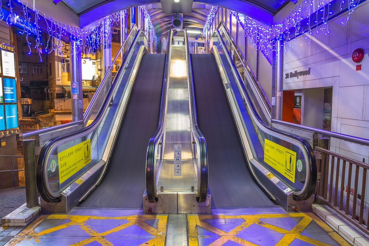 The Central-Mid-Levels Escalator, the longest outdoor covered escalator system in the world,