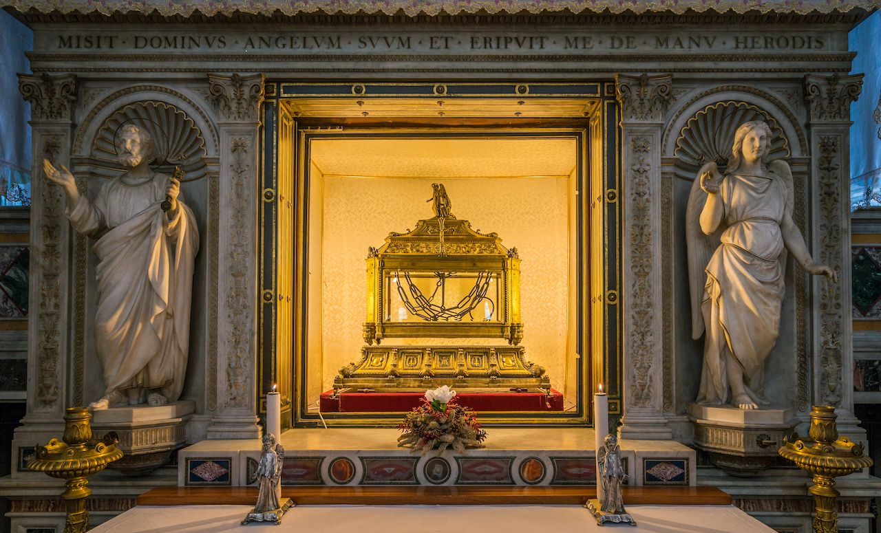 The chains of Saint Peter, in the Church of San Pietro in Vincoli in Rome, Italy