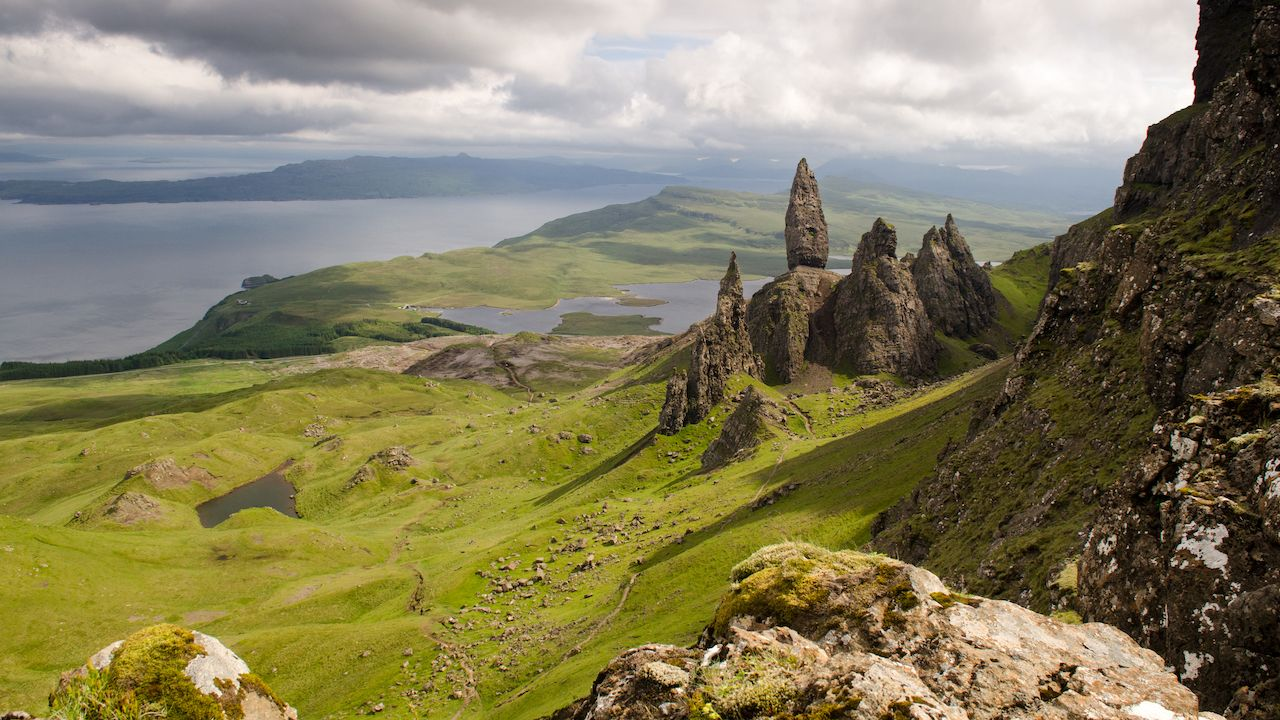 The fairytale landscape of the Trotternish peninsula on the Isle of Skye in the Highlands of Scotland