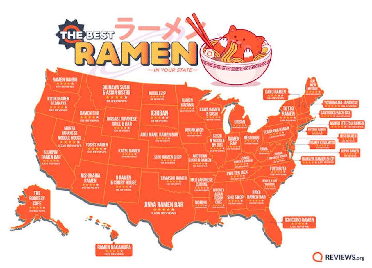 Top ramen spots by state