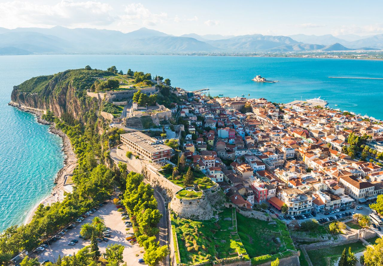 View from above on Nafplio city in Greece with port