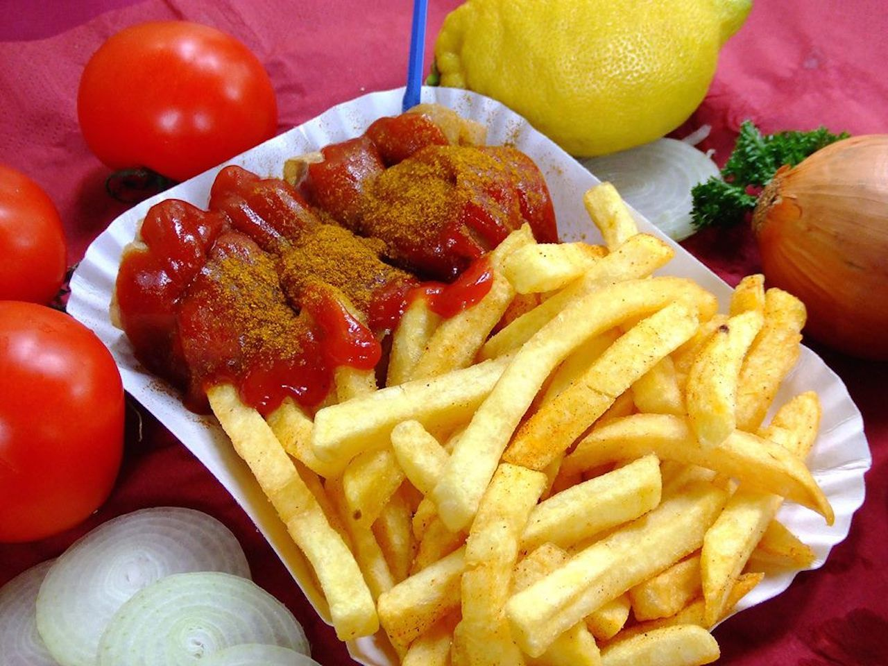 currywurst and fries