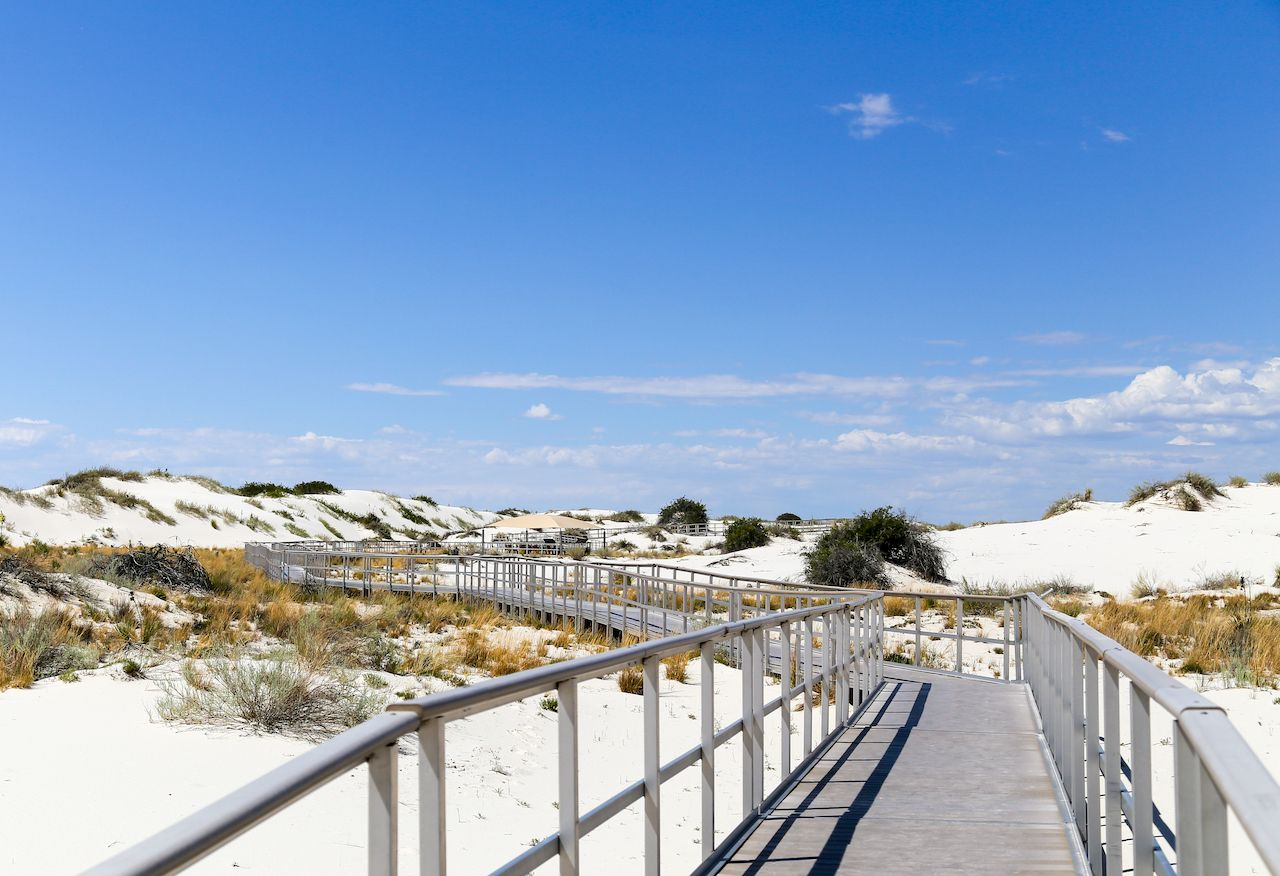 Interdune boardwalk inside the White Sands National Monument in New Mexico