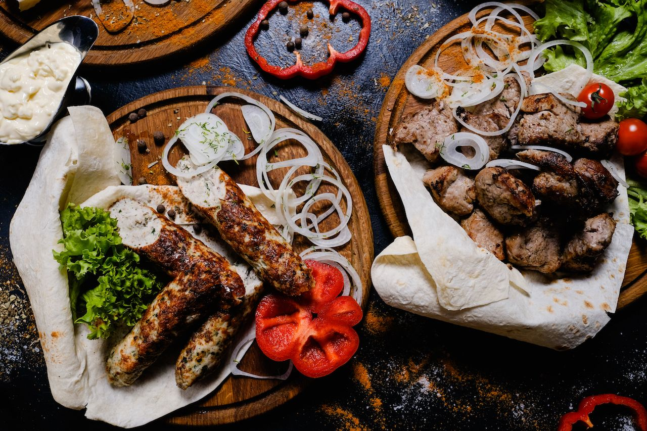 shashlik and kebab assortment food