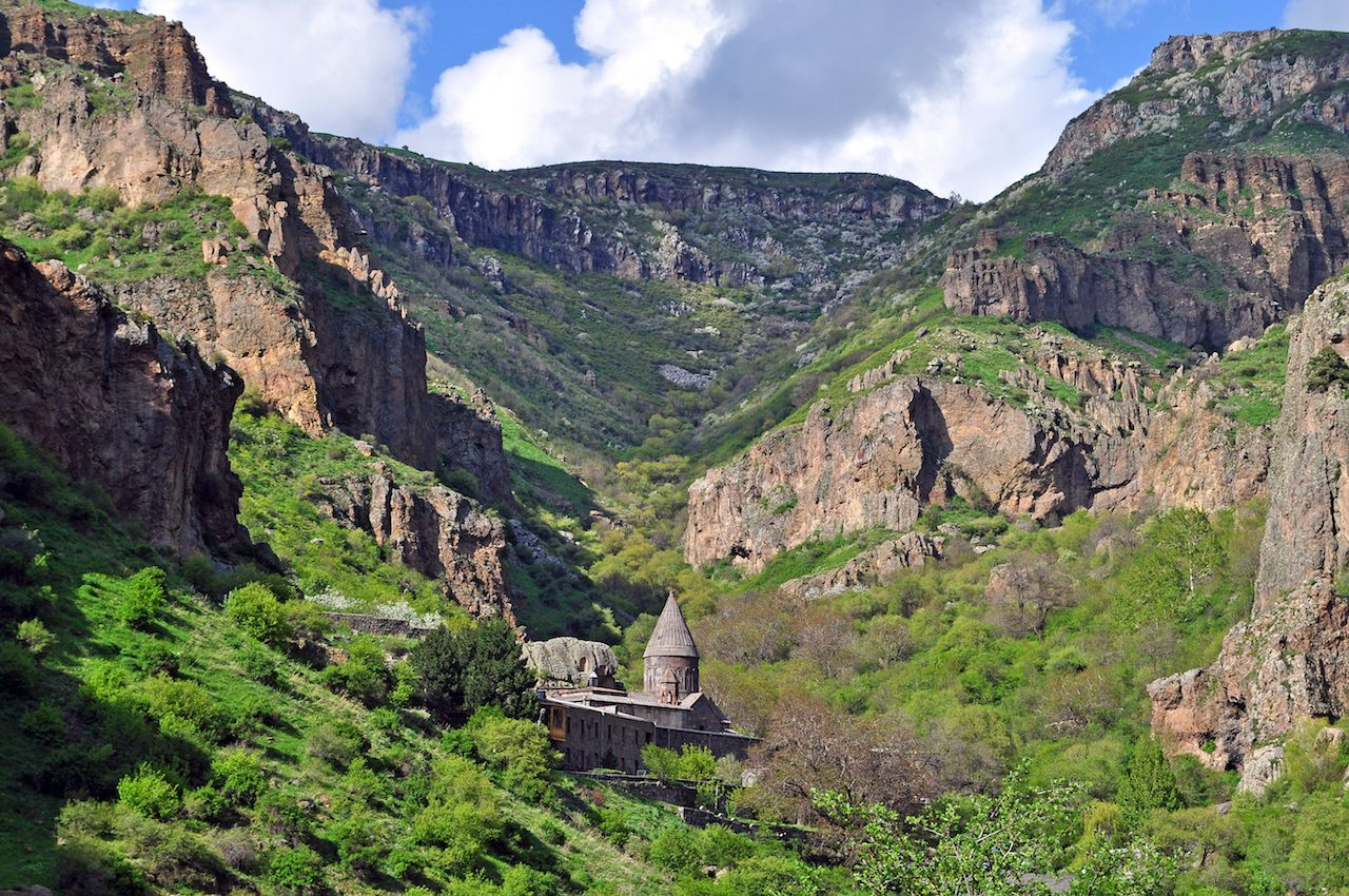 the monastery of Geghard in the Armenian mountains
