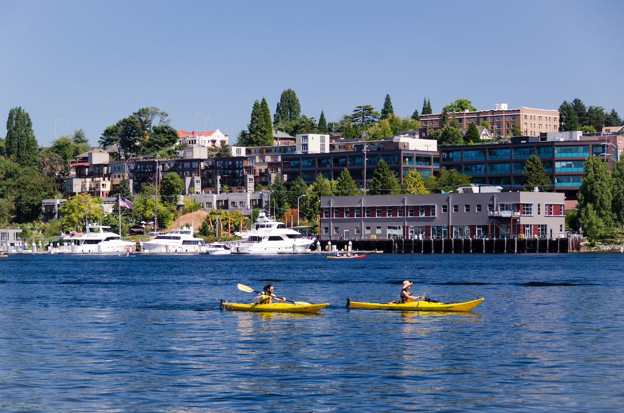 A couple of kayakers enjoying a sunny day on Lake Union
