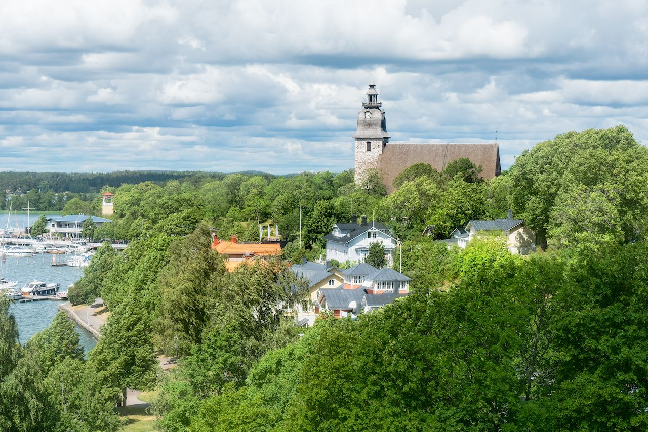 A view over Old Town and boat harbour on a summer day in Naantali, Finland