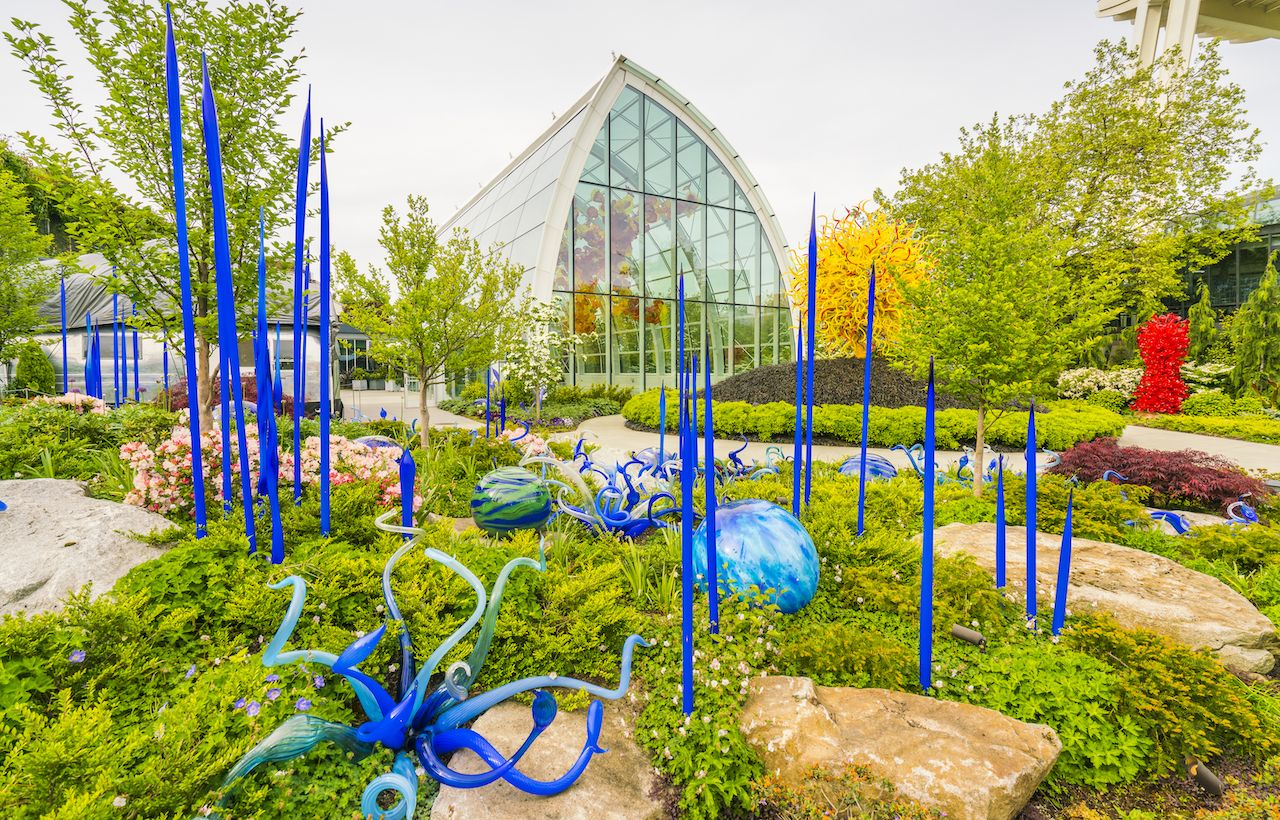 Blown glass in abstract shapes in red and yellow, Chihuly Garden and Glass Museum, Seattle, Washington