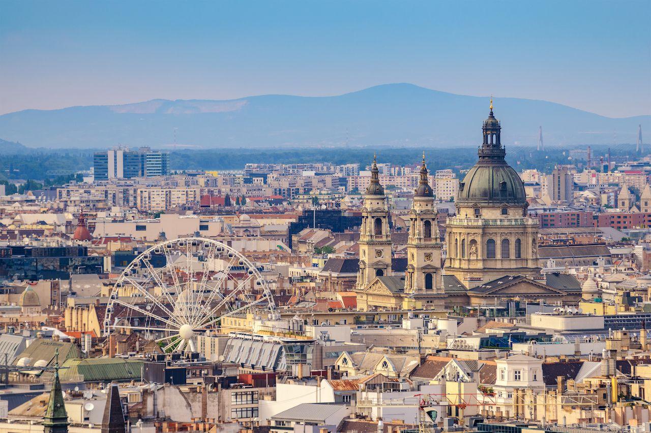 Budapest Hungary, city skyline at St. Stephen's Basilica