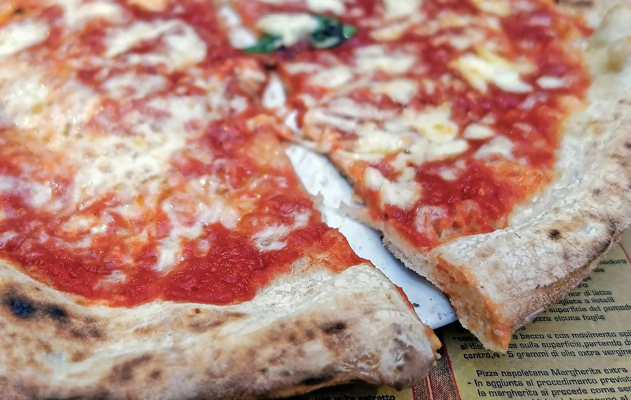 Closeup of traditional Italian pizza Margherita