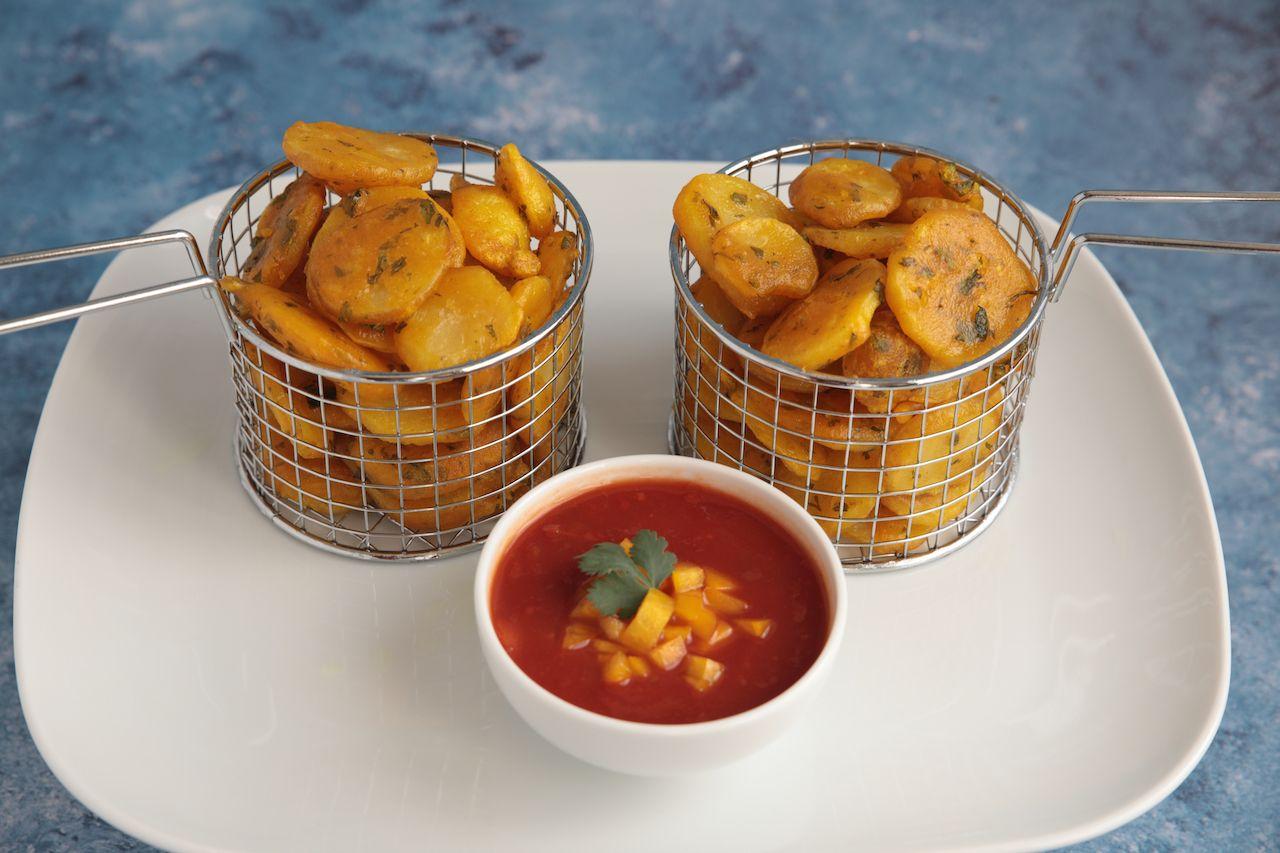 Crispy Kenyan Bhajia with chilli tomato sauce