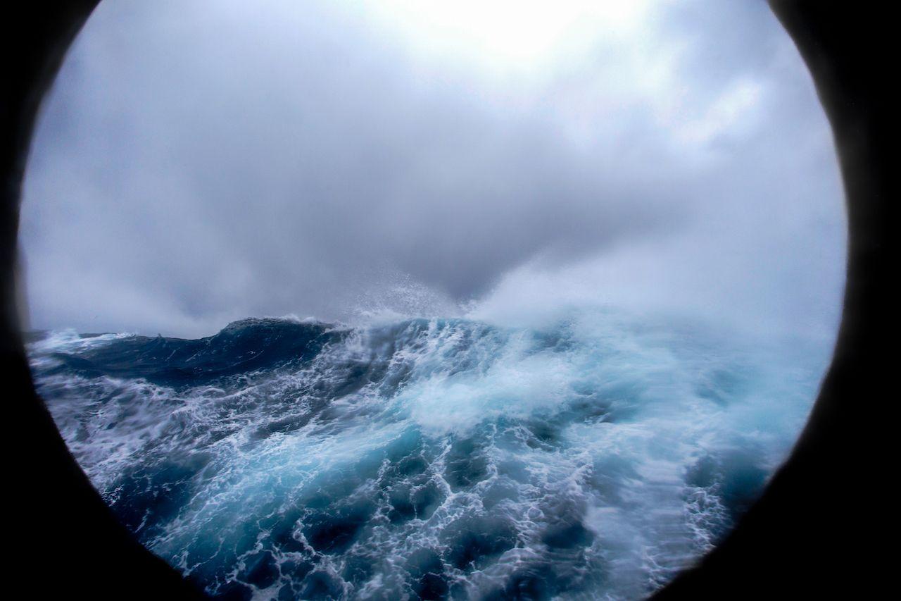 Drake Passage storm through a porthole