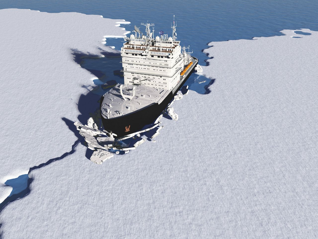 Icebreaker ship on the ice in the sea