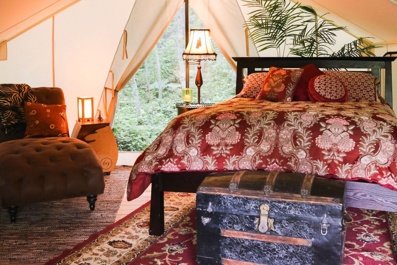 Inside a glamping tent in Whidbey Island, Washington