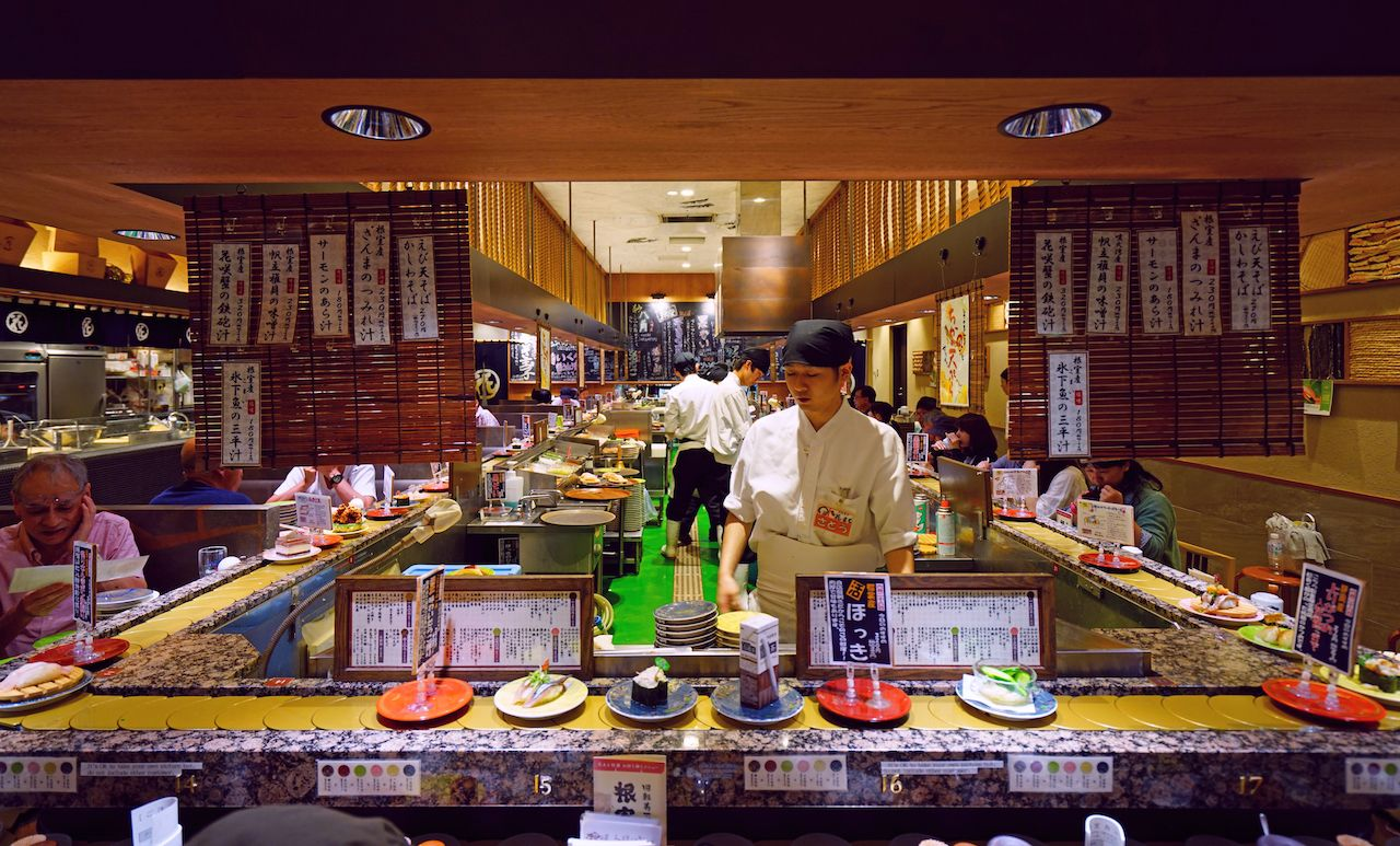 Inside view of a kaitenzushi conveyor belt sushi restaurant in Sapporo