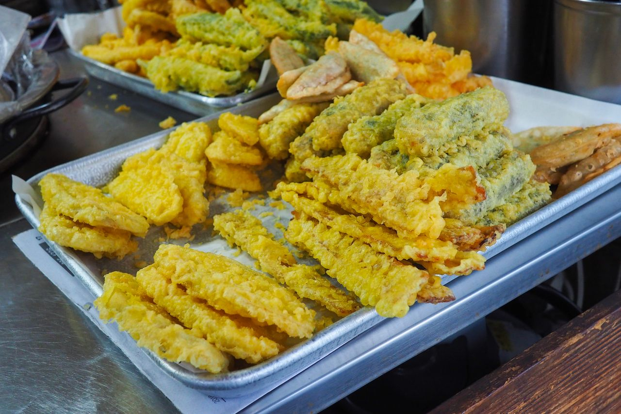 Korean street food fried vegetables