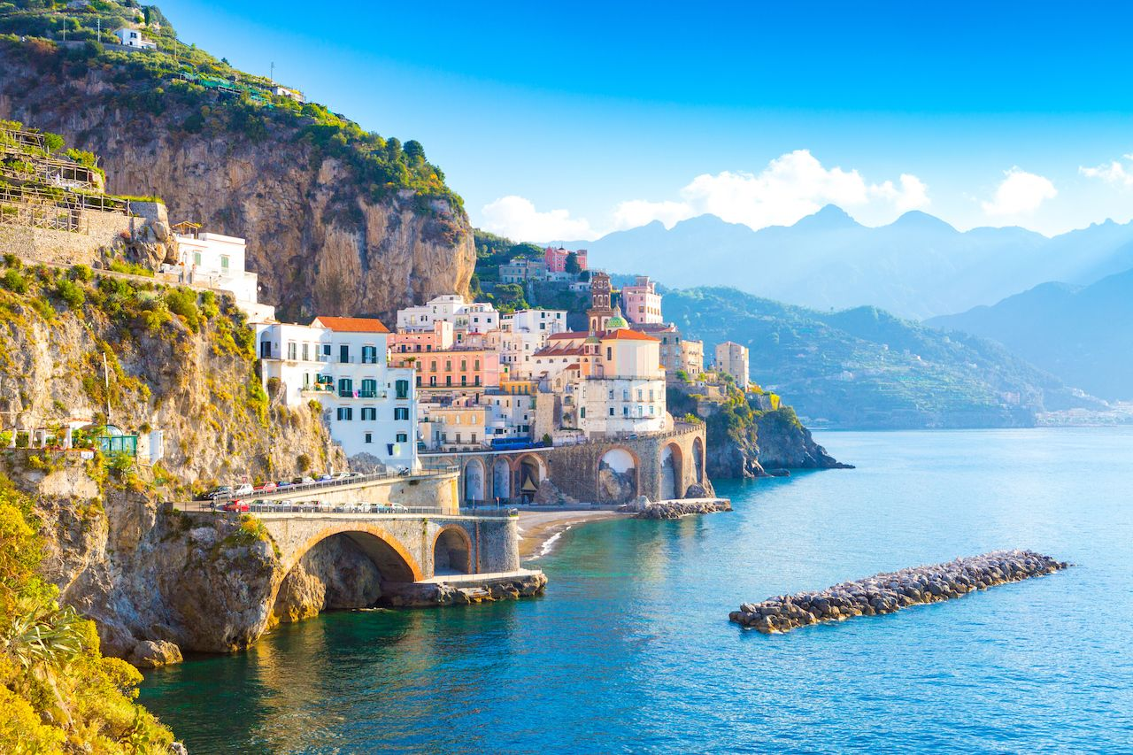 Morning view of Amalfi cityscape