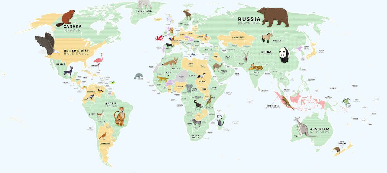 120 of 185 national animals are mammals.. The post Every country's national animal and their conservation status, mapped appeared first on Matador Network..