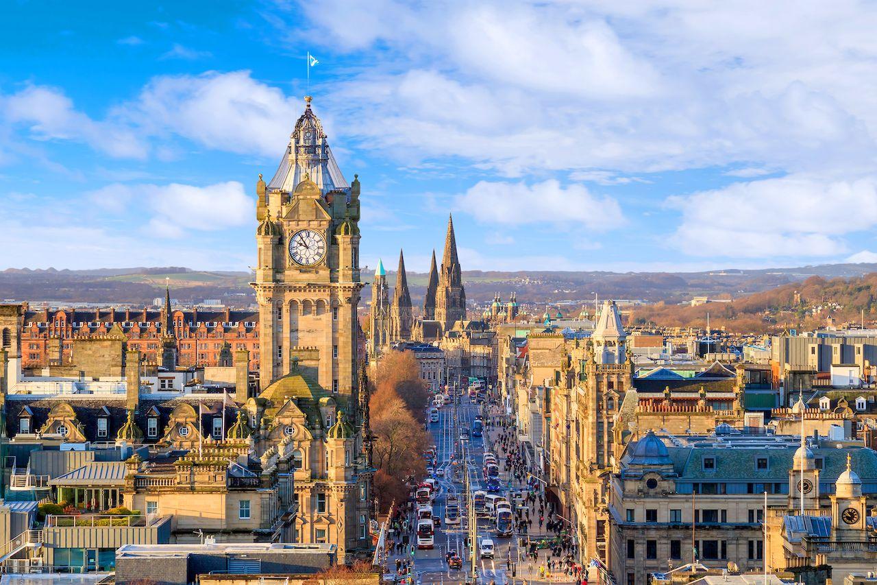 Old town Edinburgh and Edinburgh castle in Scotland UK