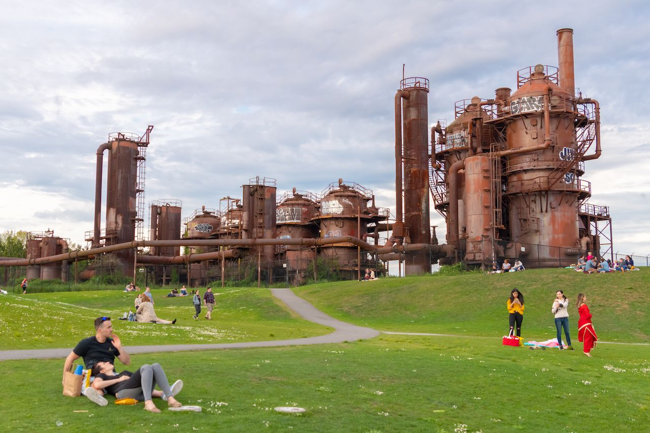People gather at Gas Works Park