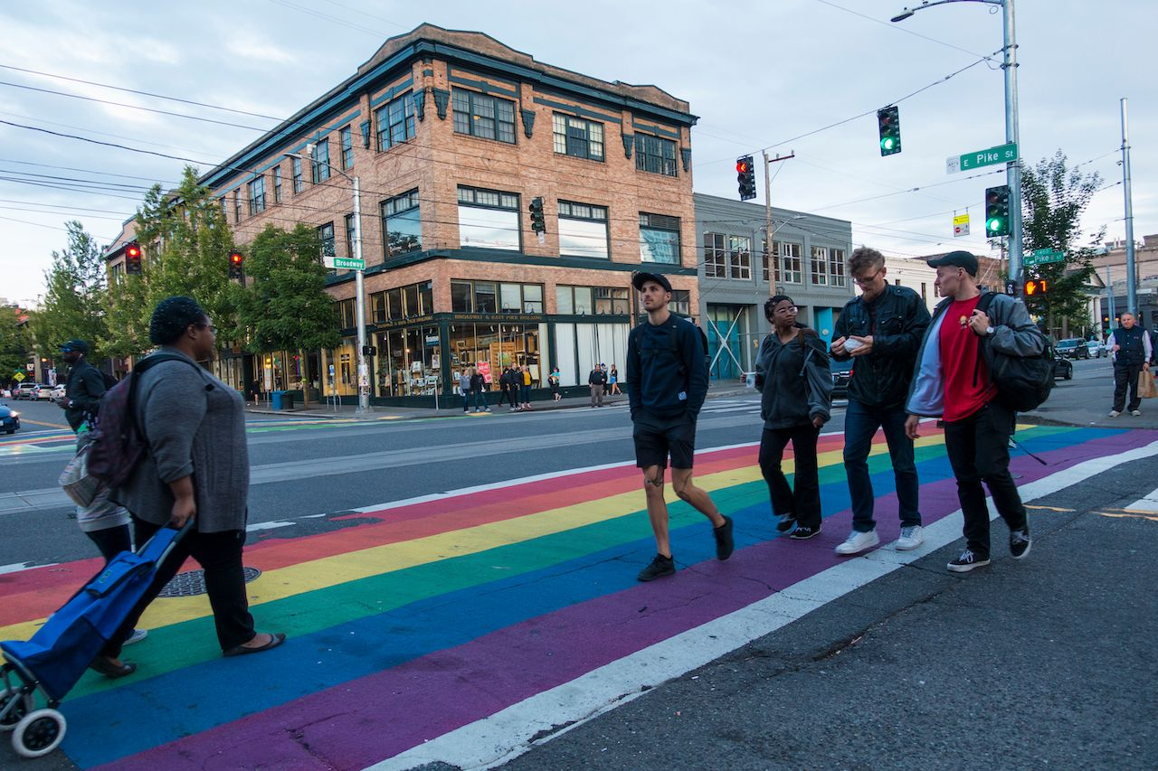Rainbow crosswalk on Capitol Hill