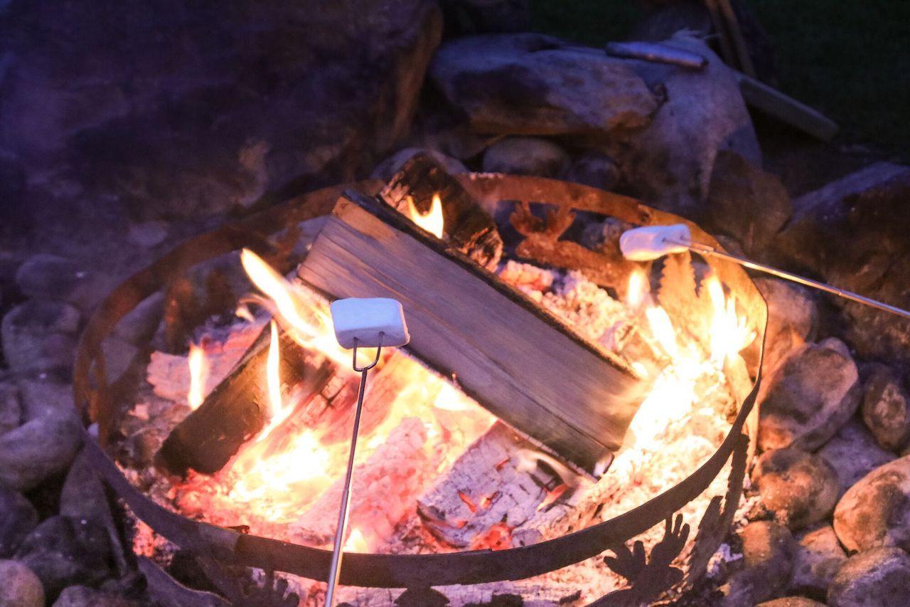 Roasting marshmallows on Whidbey Island, Washington
