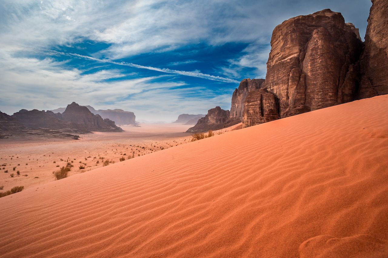 Sand dunes in Wadi-Rum desert, Jordan