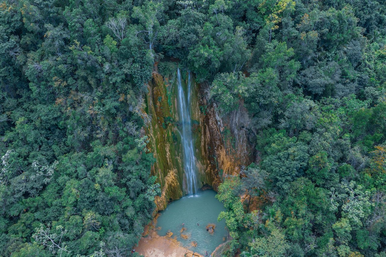 Scenic aerial view of El Limon waterfall in the Dominican Republic