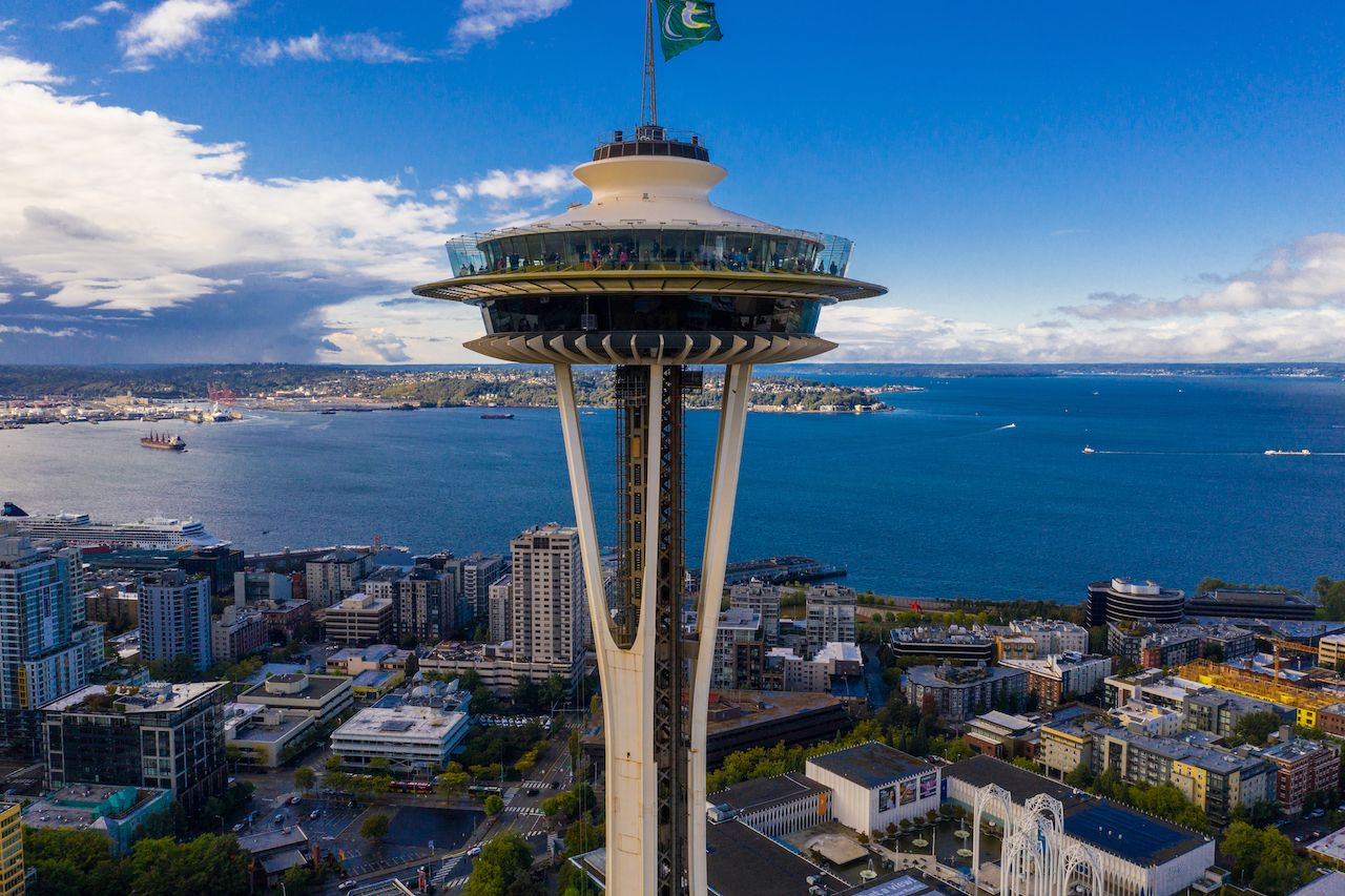 Seattle Space Needle with view of Elliott Bay