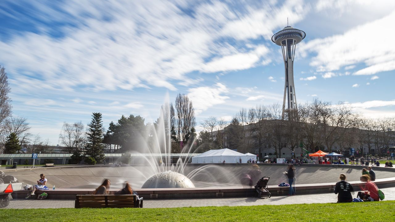 The International Fountain and the Space Needle, at the Seattle Center