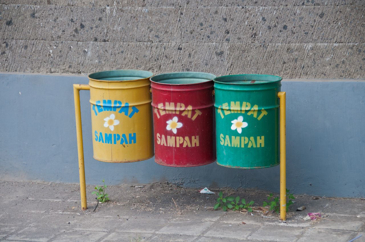 Three recycle bins in Bali