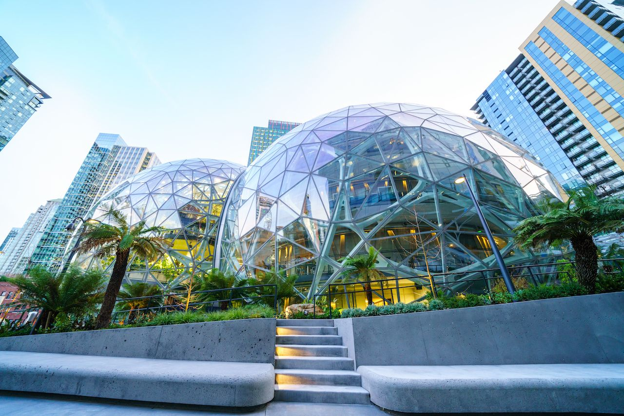 View of Amazon the Spheres at its Seattle headquarters