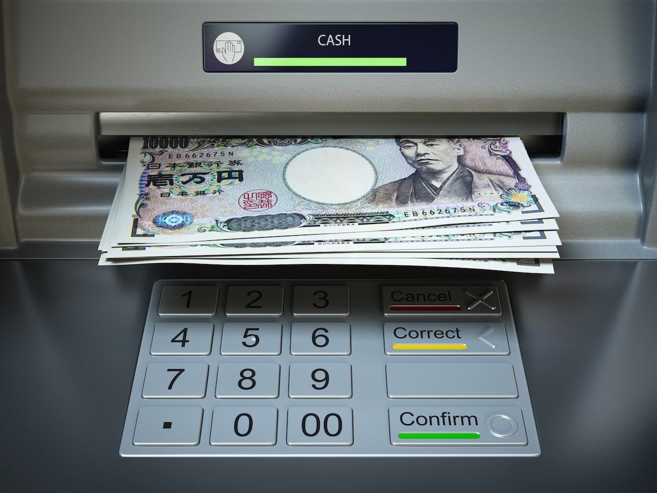 Withdrawing Japanese yen notes from an ATM